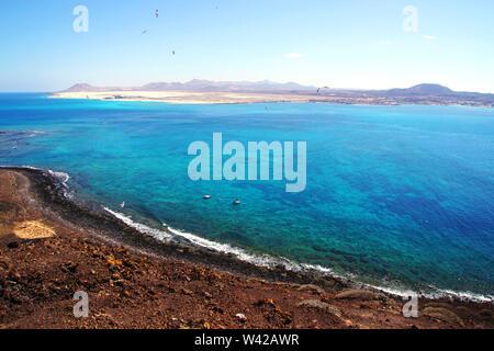 View from the volcano 'La Caldera' on Isla de Lobos in Fuerteventura, Spain