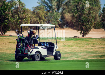Golf carts on the grass sport field. Sport and lifestyle concept - Stock Photo
