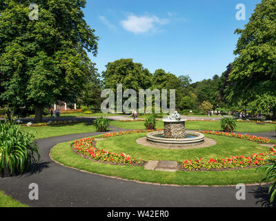 Valley Gardens in summer with the Cherub Fountain as a centrepiece Harrogate North Yorkshire England