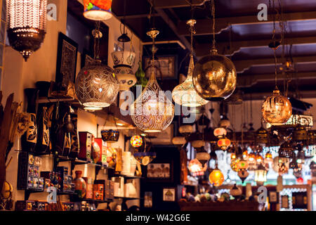 Traditional oriental lights arabic lamps background. - Stock Photo
