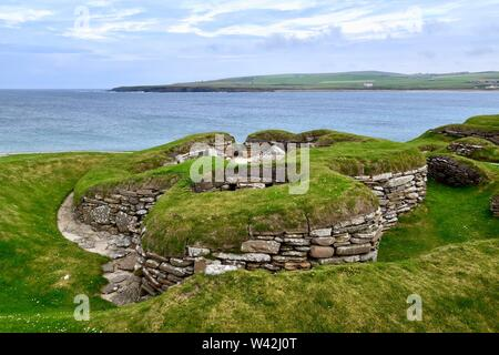 Skara Brae Neolithic village on Orkney - Stock Photo