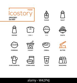 Grocery - modern line design style icons set - Stock Photo