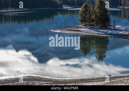 Two Jack Lake Reflections in Banff National Park, Alberta, Canada - Stock Photo