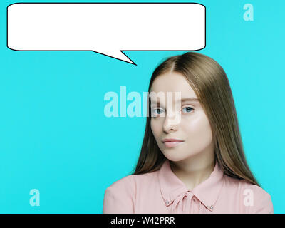 Portrait of a young pensive girl with a babble talk over her head on cyan background. - image - Stock Photo