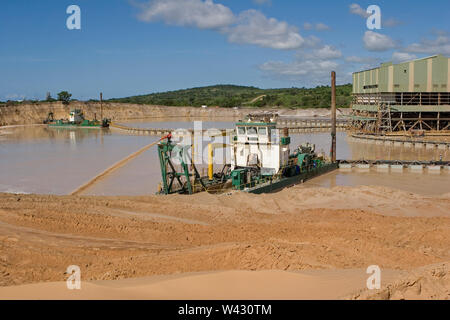 Managing & transporting of titanium mineral sands at mine site. Mining by dredging in freshwater ponds. Dredges pump sand into wet concentrator plant. - Stock Photo
