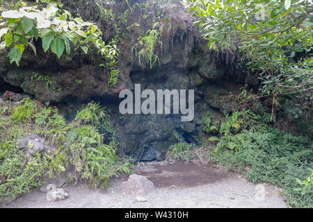 Volcanic chimney with escaping smoke and gases on the crater wall of the active Batur volcano.A volcano crater spewing white gas and ashes in Batur - Stock Photo
