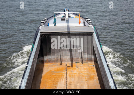 Aerial view empty cargo deck sailing barge in the Netherlands - Stock Photo