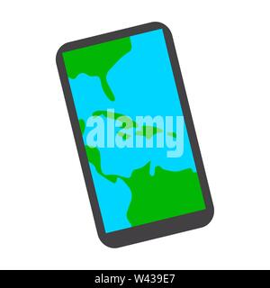 Map in a smartphone on a white background - Vector - Stock Photo