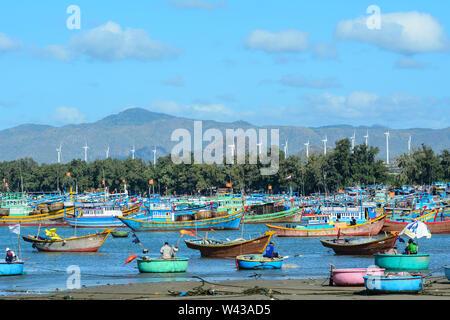 Nha Trang, Vietnam - Jan 27, 2016. Fishing boats at Ben Dam village in Nha Trang, Vietnam. Nha Trang city has a metropolitan area of 251 km2 and popul - Stock Photo