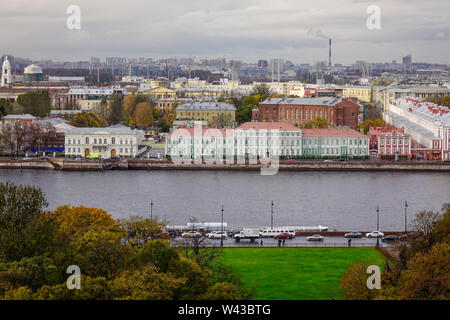 Neva River with the old buildings in Saint Petersburg, Russia. St. Petersburg was the imperial capital for 2 centuries, having been founded in 1703. - Stock Photo