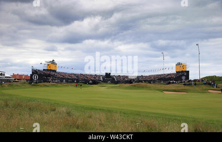 19th July, Portrush, Country Antrim, Northern Ireland; The 148th Open Golf Championship, Royal Portrush, Round Two ; a view of the 18th fairway and the grandstands surrounding the final green - Stock Photo