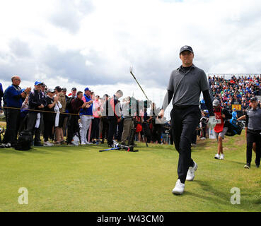 19th July, Portrush, Country Antrim, Northern Ireland; The 148th Open Golf Championship, Royal Portrush, Round Two ; Jordan Spieth (USA) walks from the tee of the 13th hole - Stock Photo