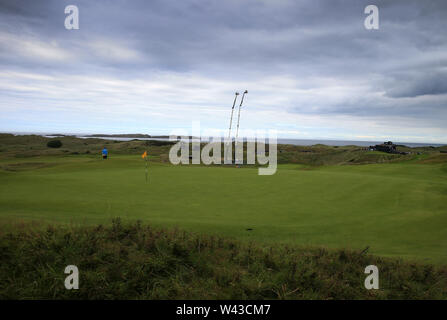 19th July, Portrush, Country Antrim, Northern Ireland; The 148th Open Golf Championship, Royal Portrush, Round Two ; a view of the par three 16th hole - Stock Photo