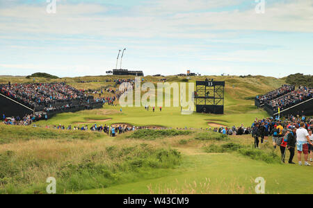 19th July, Portrush, Country Antrim, Northern Ireland; The 148th Open Golf Championship, Royal Portrush, Round Two ; a view of the 13th green and fans in the grandstands - Stock Photo