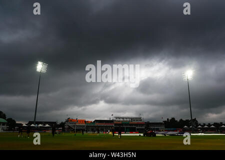 19th July 2019, Fischer County Ground, Vitality Blast T20 Cricket match, Leicestershire versus Lancashire Lightning; Storm clouds gather over the Fischer County Ground before the start of the match - Stock Photo