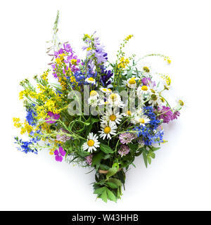 Summer Flowers. Bouquet of wild flowers on isolated white background, top view. Summer or eco friendly lifestyle concept. - Stock Photo