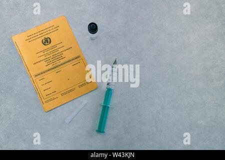 Spritze und Impfstoff zur Impfung im Rahmen einer allgemeinen Impflicht und gegen Impfmuedigkeit - Stock Photo