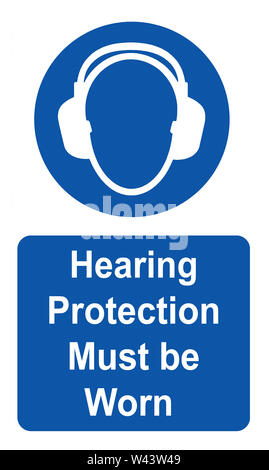 Hearing protection must be worn Health & Safety sign - Stock Photo