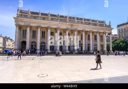Bordeaux, France - May 6, 2019: Place de la Comedie and Bordeaux Grand Theatre, France - Stock Photo