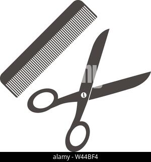 simple flat scissors and comb icon or symbol vector illustration - Stock Photo