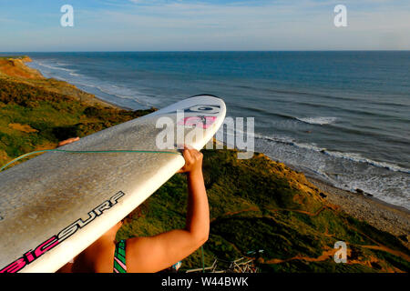 A young woman carries her surfboard on her head as she heads down the stairs to go surfing at Compton Chine, Compton Bay, Isle of Wight Stock Photo