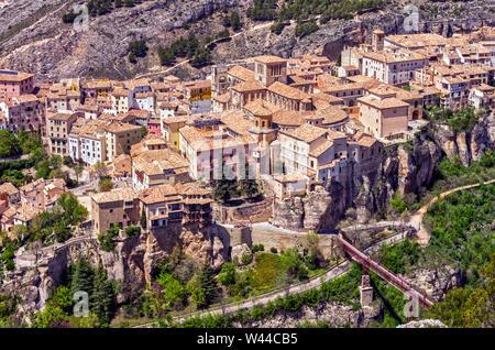 Vista aérea de la ciudad de Cuenca desde el cerro del Socorro. Castilla la Mancha. España - Stock Photo