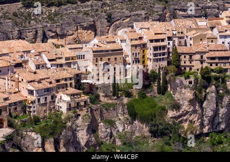 Vista aérea desde el cerro del Socorro de la ciudad de Cuenca. Castilla la Mancha. España - Stock Photo