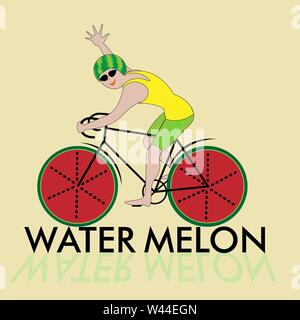 illustration of a cyclist in a helmet of watermelon, watermelon wheels - Stock Photo