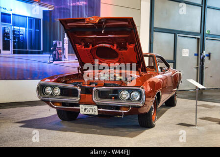FRIEDRICHSHAFEN - MAY 2019: red orange DODGE SUPER BEE 1970 at Motorworld Classics Bodensee on May 11, 2019 in Friedrichshafen, Germany. - Stock Photo