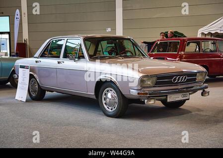 FRIEDRICHSHAFEN - MAY 2019: silver AUDI 100 LS C1 1968 sedan at Motorworld Classics Bodensee on May 11, 2019 in Friedrichshafen, Germany. - Stock Photo