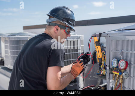 Hvac technician with safety gear on, working on a air conditioner condensing unit, checking voltage with a multi-meter. - Stock Photo