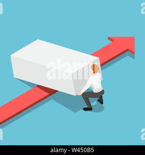 Flat 3d isometric businessman lifting up obstacle to let the red arrow pass. Overcome obstacles in business concept. - Stock Photo