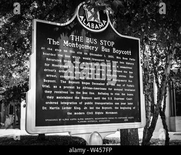 The historic marker of the bus stop where Rosa Parks boarded on the day she initiated the Montgomery Bus Boycott with the help of MLK, Jr, in Montgome - Stock Photo