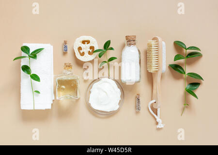 Organic body care products, concept of healthy life stile, flat lay composition - Stock Photo