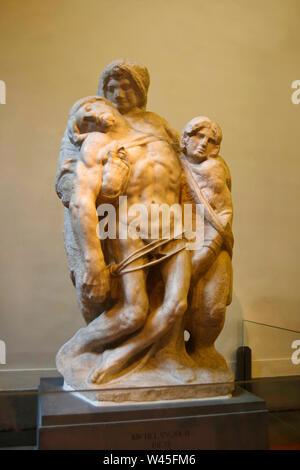 Statues giving support to the crippled tied in a rope, Gipsoteca Bartolini gallery, Accademia museum, Florence, Italy. - Stock Photo