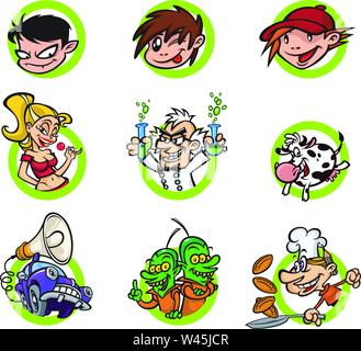 A set of cartoon characters, a flat style. Vector image isolated on white background. Brand characters for print and website. Comic style. Mascots for - Stock Photo