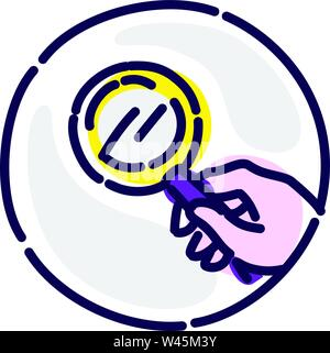 Magnifier in the hand. Vector flat icon. Image is isolated on white background. Corporate identity. Icon for website and print. Search in the hands of - Stock Photo