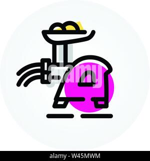 Icon of meat grinder. Kitchen appliances. Assistant in the kitchen. Vector icon isolated on white background. Fashionable linear icon. Icon for websit - Stock Photo
