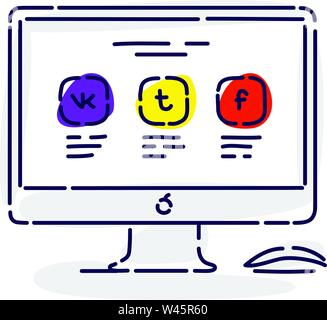 Illustration of a monitor with icons of social networks. Drawing isolated on white background. Vector flat illustration. Fashionable icon. - Stock Photo