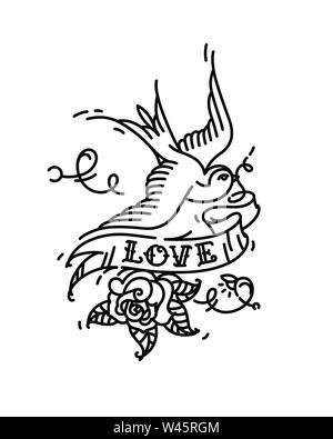 Tattoo Swallows with the inscription Love and a rose bud from below. Vector illustration. Tattoo of an American old school. Bird swift with ribbon and - Stock Photo