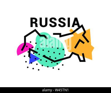 Illustration of map of Russia. Vector illustration. Abstract map of Russia. In the style of the Russian avant-garde. Image is isolated on white backgr - Stock Photo