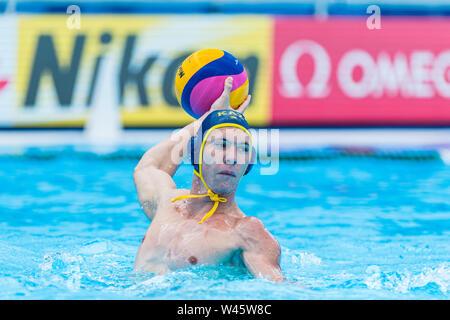 17 july 2019 Gwangju, South Korea 18th FINA World Aquatics Championships  17-07-2019: WK waterpolo: Australia v Kazaksthan: Gwangju #9 SHVEDOV Stanisl - Stock Photo