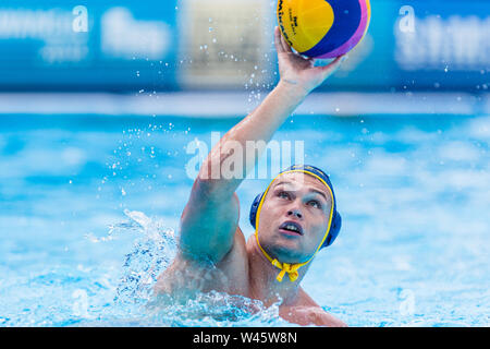 17 july 2019 Gwangju, South Korea 18th FINA World Aquatics Championships  17-07-2019: WK waterpolo: Australia v Kazaksthan: Gwangju #12 VERDESH Yulian - Stock Photo