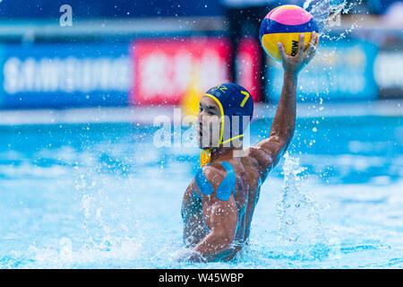 17 july 2019 Gwangju, South Korea 18th FINA World Aquatics Championships  17-07-2019: WK waterpolo: Australia v Kazaksthan: Gwangju #7 SHAKENOV Murat - Stock Photo