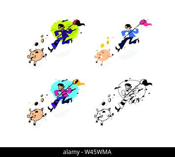 Illustration of a thief and a guy running after a piggy bank with a net. Vector illustration. Image is isolated on white background. A cartoon thief i - Stock Photo