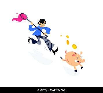 Illustration of a thief running after a piggy bank with a net. Vector illustration. Image is isolated on white background. A cartoon thief is trying t - Stock Photo