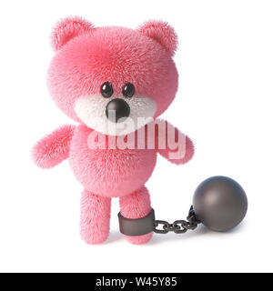Naughty pink fluffy teddy bear character has to wear a ball and chain, its very sad, 3d illustration - Stock Photo