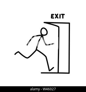 Illustration of a little man running out of the door. Vector. Logout and security. Metaphor. Linear style. Illustration for website or presentation. E Stock Photo