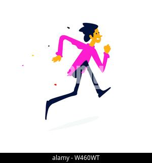 Illustration of a cheerful man running. Vector. Cartoon flat style. Character businessman in a red sweatshirt. Fitness, sport. Mascot for a company or - Stock Photo