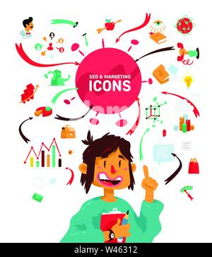 A set of icons on the theme of business processes. Vector. A bright cartoon character with infographics. A man with a tablet and a pencil. Fashionable - Stock Photo